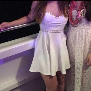 TOBI white dress with gold chain detail